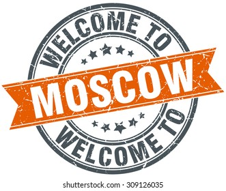 welcome to Moscow orange round ribbon stamp