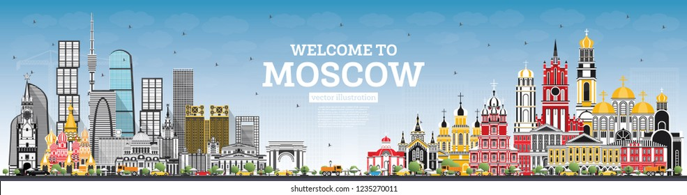 Welcome to Moscow Russia Skyline with Gray Buildings and Blue Sky. Vector Illustration. Business Travel and Tourism Concept with Modern Architecture. Moscow Cityscape with Landmarks.