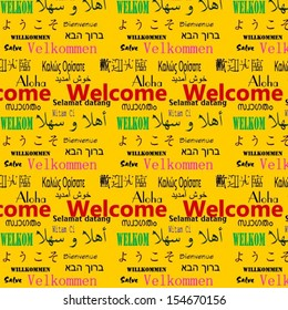 Welcome in multiple languages composed for tile-able seamless vector background