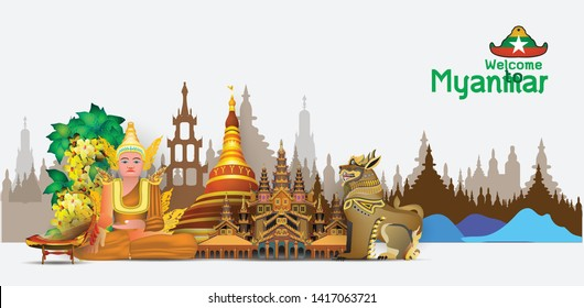 Welcome to Myanmar  travel destinations  Landmarks Architecture Building Country symbol  Myanmar  Info graphic Element / icon / Symbol , Vector Design travel  vector illustration of Info graphic eleme