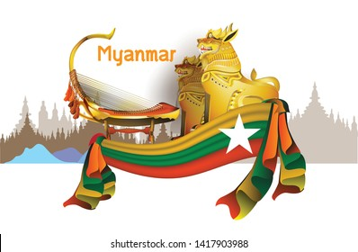 Welcome to Myanmar travel destinations Landmarks Architecture Building Country symbol Myanmar Info graphic Element / icon / Symbol , Vector Design travel vector illustration of Info graphic