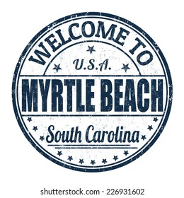Welcome to Myrtle Beach grunge rubber stamp on white background, vector illustration
