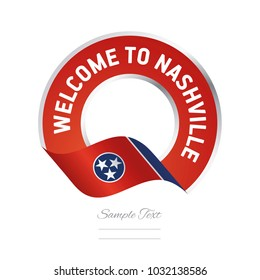 Welcome to Nashville Tennessee flag ribbon travel logo icon stamp