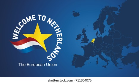 Welcome to Netherlands EU map banner logo icon