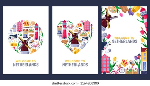 Welcome to Netherlands greeting souvenir cards, print or poster design template. Travel to Amsterdam vector flat illustration. Circle, heart shapes and frame background set.