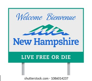 Welcome to New Hampshire road sign