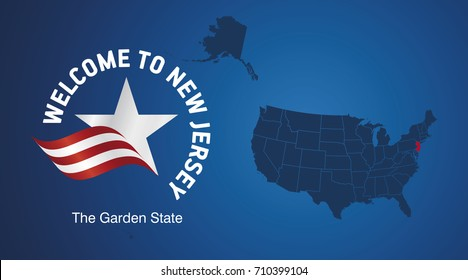Welcome to New Jersey USA map banner logo icon