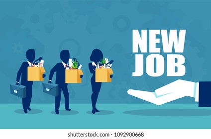 Welcome to the new job business. Corporate boss offering a new employment opportunity to employees. Start and time for a new job illustration vector concept