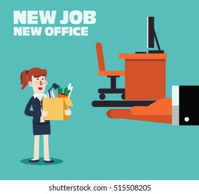 Welcome to the new job vector business concept. Boss offering a new office to employee. Successful smiling young woman in the office for new job. Start and time for a new job illustration