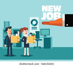 Welcome to the new job vector business concept. Boss offering a new job to employee. Successful smiling young business person holding a box with his things. Start and time for a new job illustration