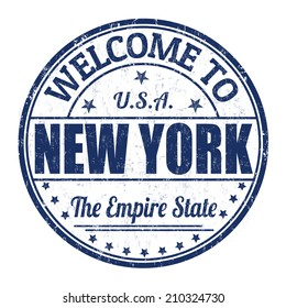 Welcome to New York grunge rubber stamp on white background, vector illustration