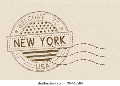 Welcome to New York, USA. Tourist brown stamp with US national flag on beige background. Vector illustration