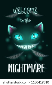 Welcome to the nightmare. Scary Halloween poster with creepy evil cat face and slogan. Vector dark horror illustration.