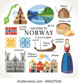 welcome to Norway traditional symbols collection