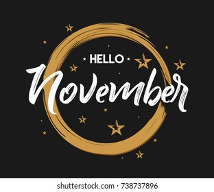 Welcome November - Grunge - Vector for greeting, new month