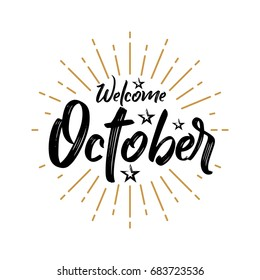 Welcome October - Firework - Vector for greeting, new month
