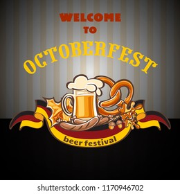 Welcome to octoberfest concept background. Cartoon illustration of welcome to octoberfest vector concept background for web design