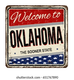 Welcome to Oklahoma vintage rusty metal sign on a white background, vector illustration