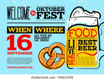 Welcome to Oktoberfest Poster. Horizontal or Landscape Orientation. Vector Hand Drawn Beer Mug and Pretzel with Lettering on Blue Old Grunge Retro Texture. Octoberfest Placard Design.