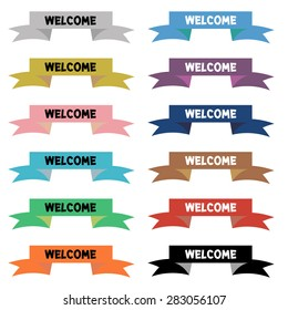 welcome on ribbon : colorful vector on white background