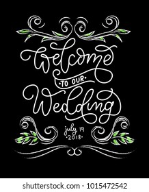 Welcome to our Wedding chalkboard card with flourishes and lettering.  Chalkboard welcome vintage sign. realistic wedding lettering invitation on the board .Vector illustration