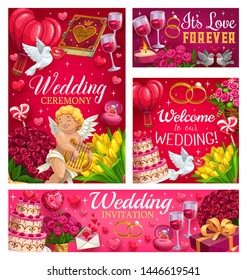 Welcome to our wedding, love forever and save the date party invitations. Vector flower bouquets and sweet cakes desserts, wine in glasses and engagement ring. Cupid and book love spells, flying dove