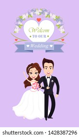 Welcome to our wedding, purple invitation decorated by flowers and heart, romantic ceremony of couple, portrait view of married groom and bride vector