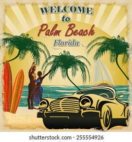 Welcome to Palm Beach,Florida retro poster.