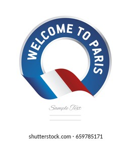 Welcome to Paris France flag logo icon