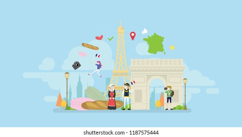 Welcome To Paris Tiny People Character Concept Vector Illustration, Suitable For Wallpaper, Banner, Background, Card, Book Illustration, And Web Landing Page