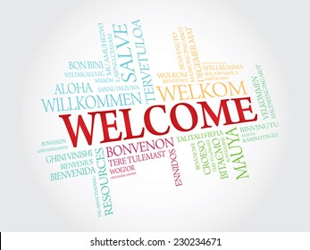 Welcome phrase in different languages. Vector words cloud concept