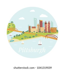 Welcome to Pittsburgh poster. View on  river and skyscrapers