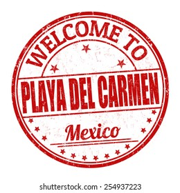Welcome to Playa del Carmen grunge rubber stamp on white background, vector illustration