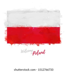 Welcome to Poland banner. National flag Republic of Poland in watercolor style. Polska symbol and print design. Vector illustration.
