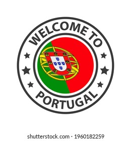 Welcome to Portugal. Collection of icons welcome to. Stamp welcome to with waving country flag