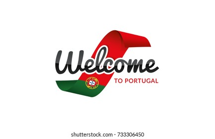 Welcome to Portugal flag sign logo icon