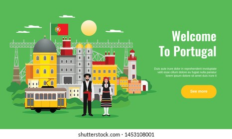 Welcome to Portugal horizontal banner with transport and cuisine symbols flat vector illustration