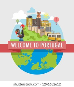 Welcome to Portugal travel poster of vector Portuguese tourism landmarks attractions
