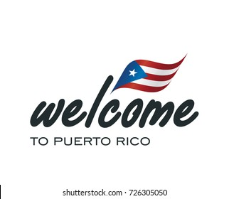 Welcome to Puerto Rico flag sign logo icon