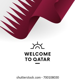 Welcome to Qatar. Qatar flag. Patriotic design. Vector illustration.