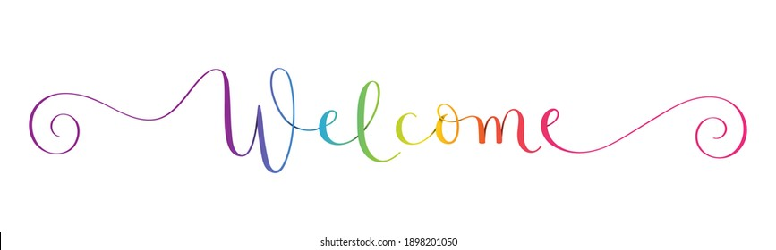 WELCOME rainbow-colored vector brush calligraphy with spiral swashes