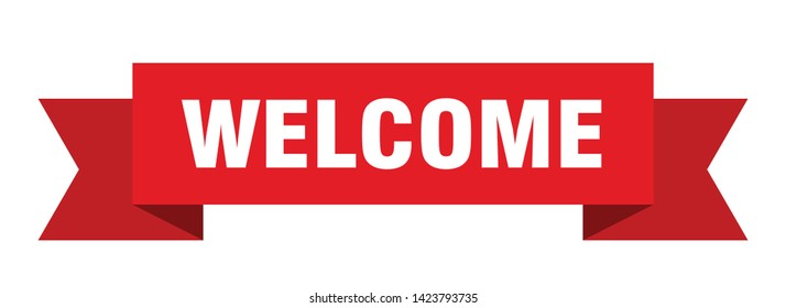 welcome ribbon sticker. welcome sign. welcome banner