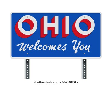 Welcome road sign of the state of Ohio