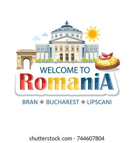 Welcome to Romania lettering text sticker header with architecture sights food arch theater hominy
