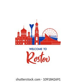 Welcome to Rostov. Concept Russian landmarks. Vector illustration.