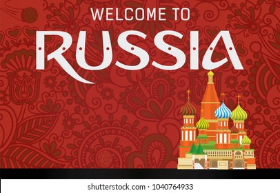 Fifa World Cup 2018 Greeting, welcome to Russia with Kremlin Palace