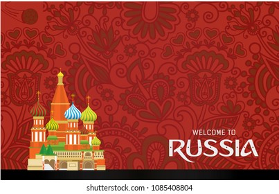 Welcome to Russia background vector illustration