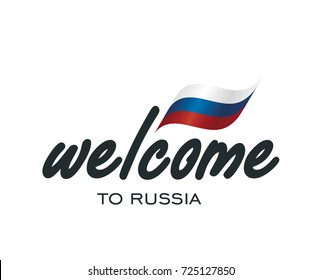 Welcome to Russia flag sign logo icon