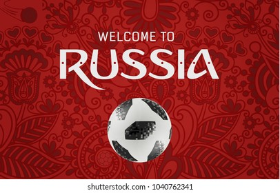 Welcome to Russia greeting background design with Adidas Telstar Top Glider World Cup 2018 Football, 2018 Russia World Cup Vector Illustration.