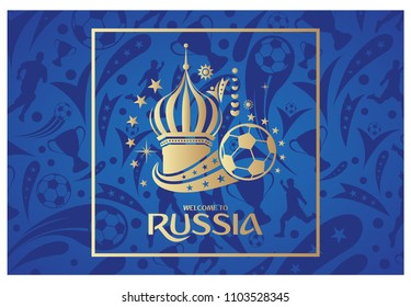 Welcome to Russia greeting banner on soccer pattern background. FIFA World Cup Russia 2018 background. Vector illustration